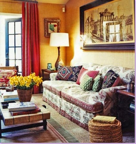 Dunham Uses Bright Yellows And Red, Typical Of A Cluttered Design. The Sofa  Is