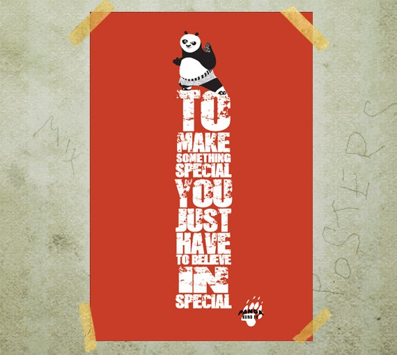 Kung Fu Panda  Po motivational poster print quote A3 by MixPosters, $19.00