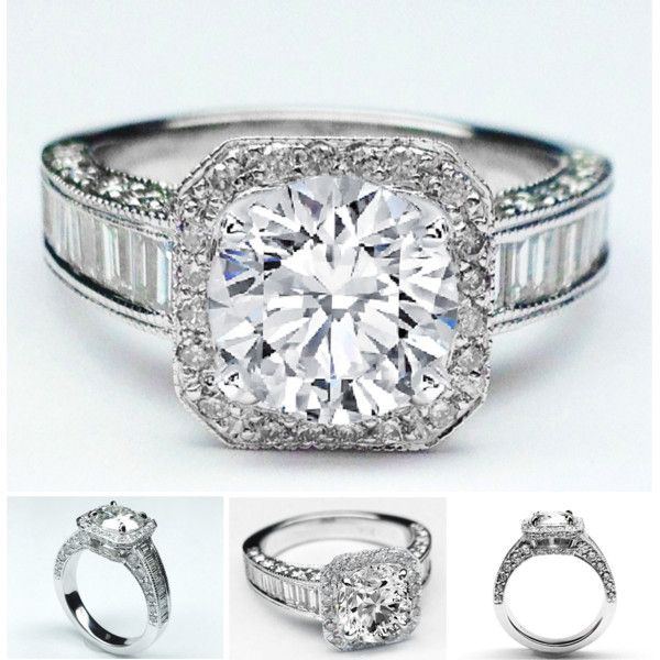 Diamond Halo Baguettes Band Engagement Ring