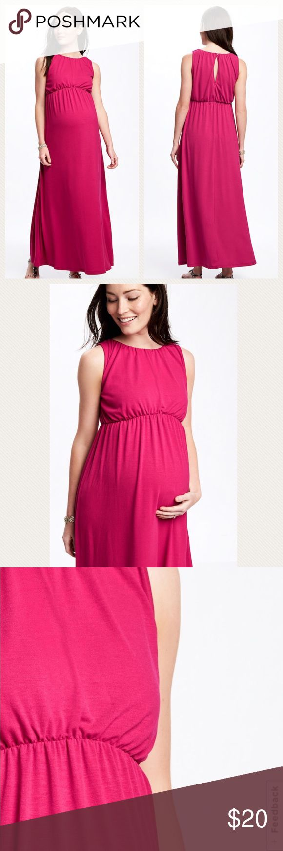 NWOT Old Navy Maternity High-Neck Jersey Maxi -High, rounded neck; sleeveless -Button closure with keyhole cutout at nape -Seamed waist, with soft, shirred detailing -Soft, medium-weight jersey -62% polyester , 34% rayon, 4% spandex -Color: Pink 🛍CREATE  BUNDLE & SAVE 💰15%!! Old Navy Dresses Maxi