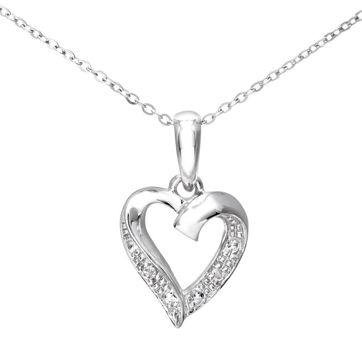 Naava 9 ct White Gold Diamond Heart Pendant and Chain of 46 cm