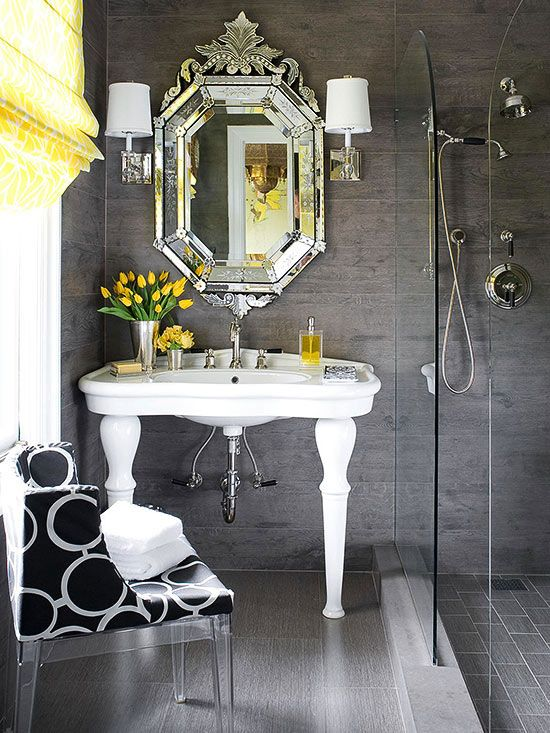 Glamorous Color Scheme - gray & bright yellow small bathroom - love the yellow tulips... must incorporate these somehow!