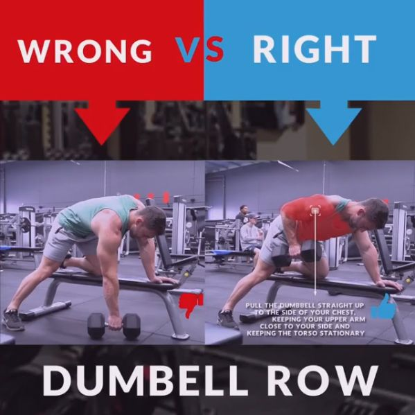 Free Weights Vs Yoga: HOW TO DUMBBELL ROW WRONG&RIGHT