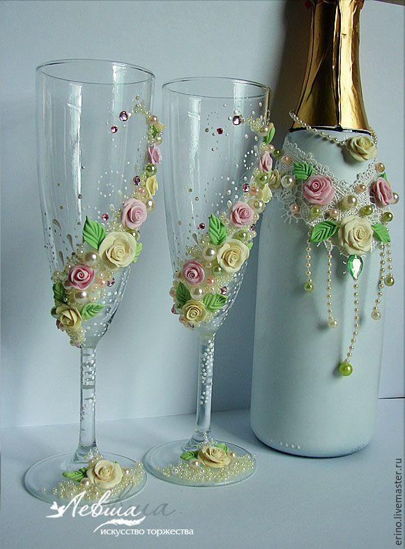 Купить Свадебные бокалы фужеры - комбинированный, свадебные бокалы, фужеры, свадебные аксессуары, свадебный подарок