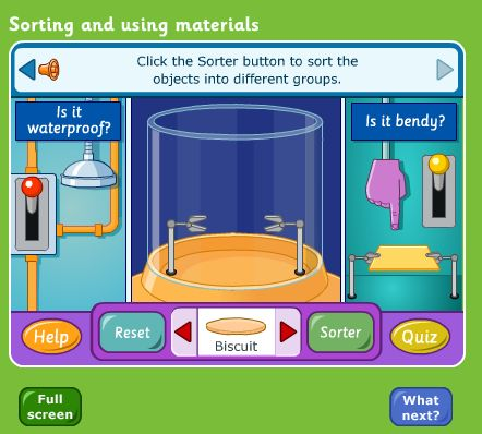 KS1: Sorting materials by properties of waterproof/bendy. Interactive activity. #game #materials #waterproof #STEM