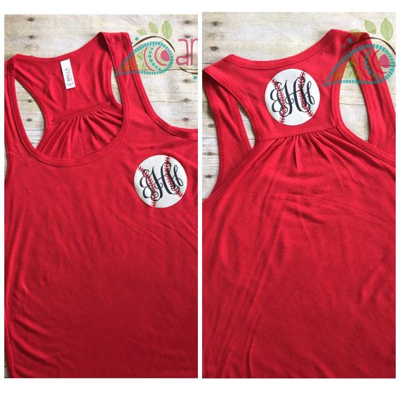 This listing if for a Womens Monogram Baseball Racerback Tank Top. Monogram and baseball are on the left upper chest and on the back in the