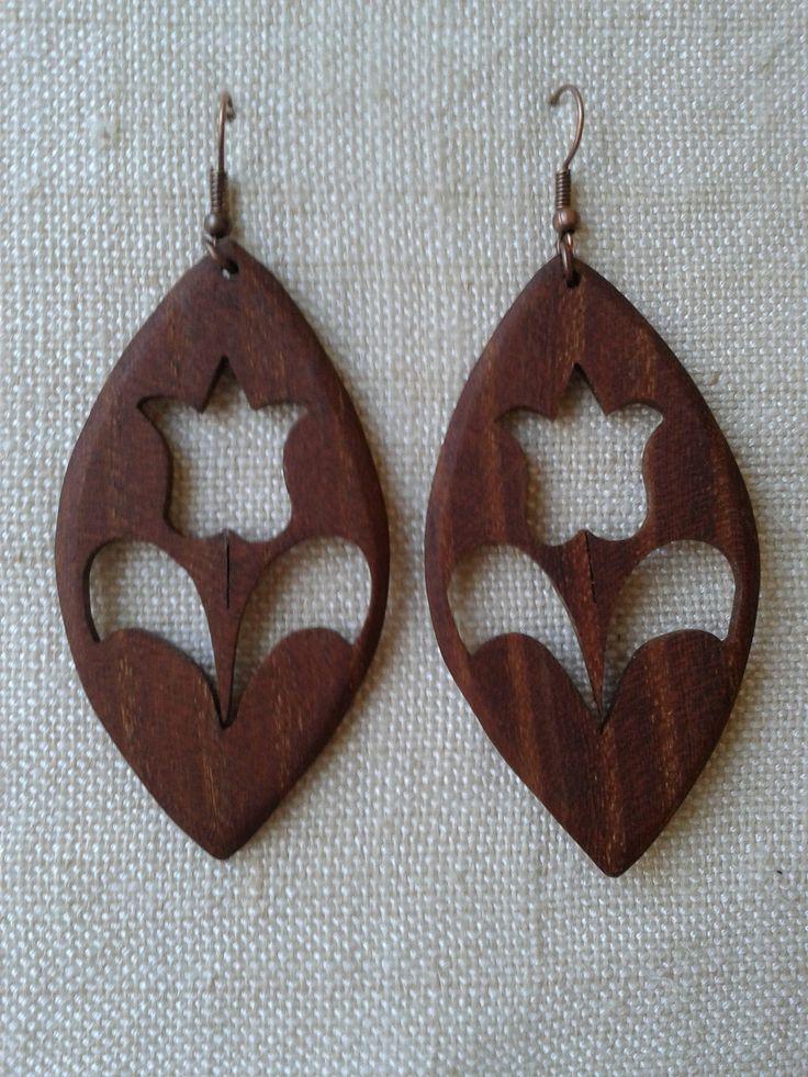 fa fülbevaló - wooden earring