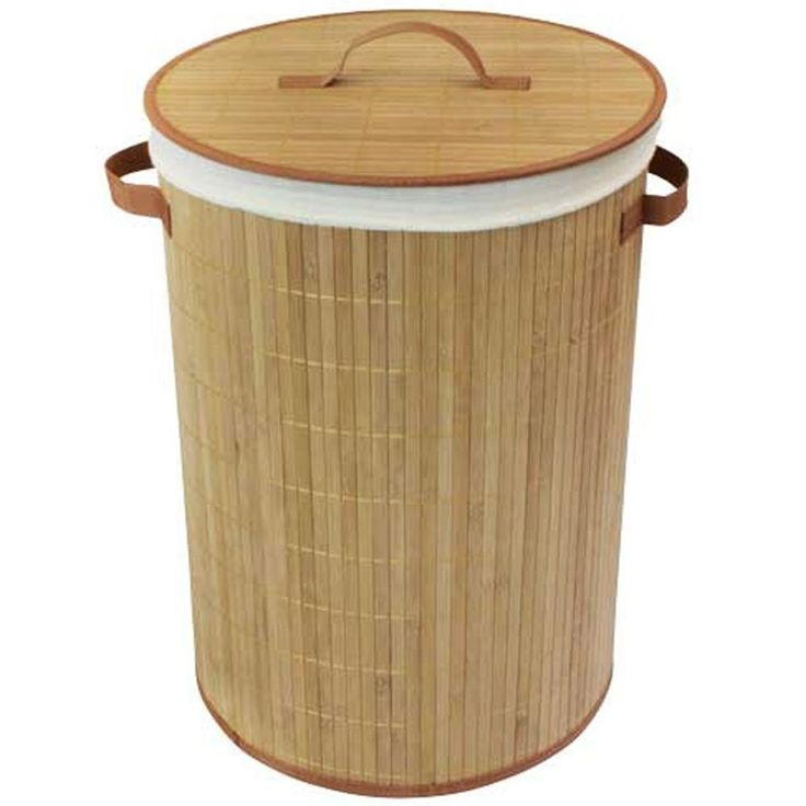 Round Bamboo Wooden Laundry Basket With Lid Decorative Laundry Hampers And Baskets Uk