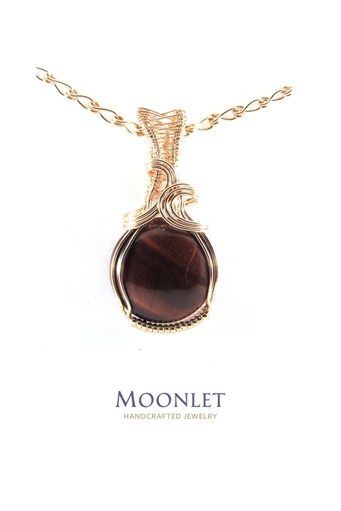 by MOONLET HANDCRAFTED JEWELRY Red Tiger Eye 14k Rose Gold Round Pendant Necklace Wire Wrap Jewelry