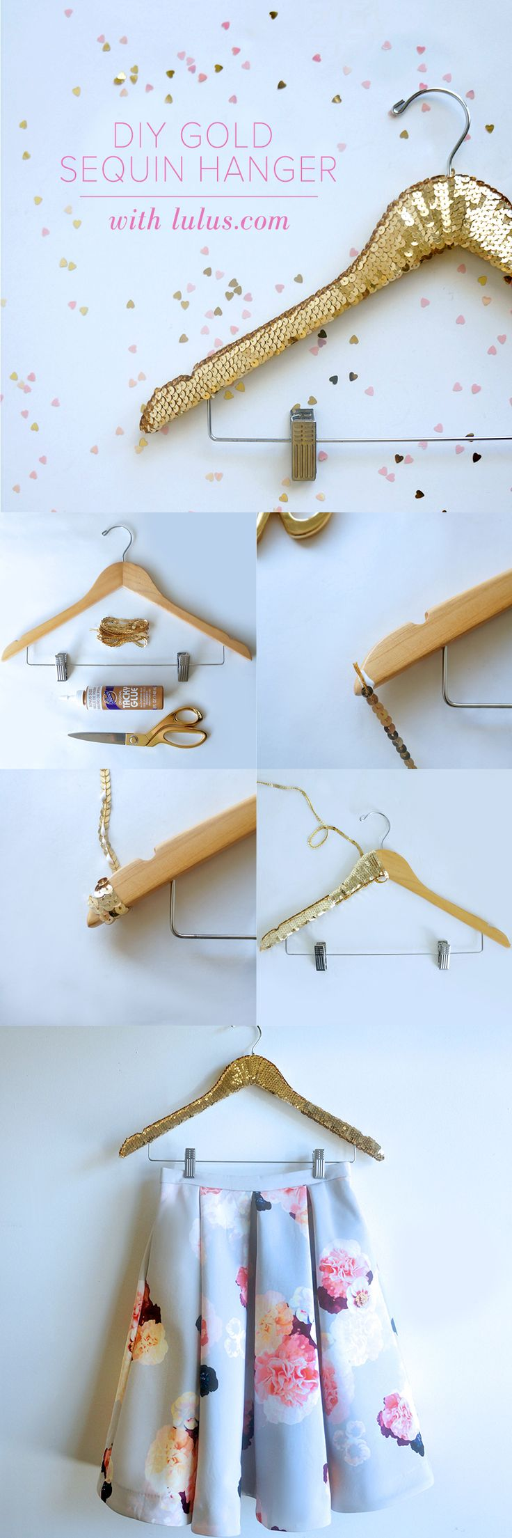 Take your closet to the next level with this DIY Gold Sequin Hanger. Make your clothes hangers sparkle!