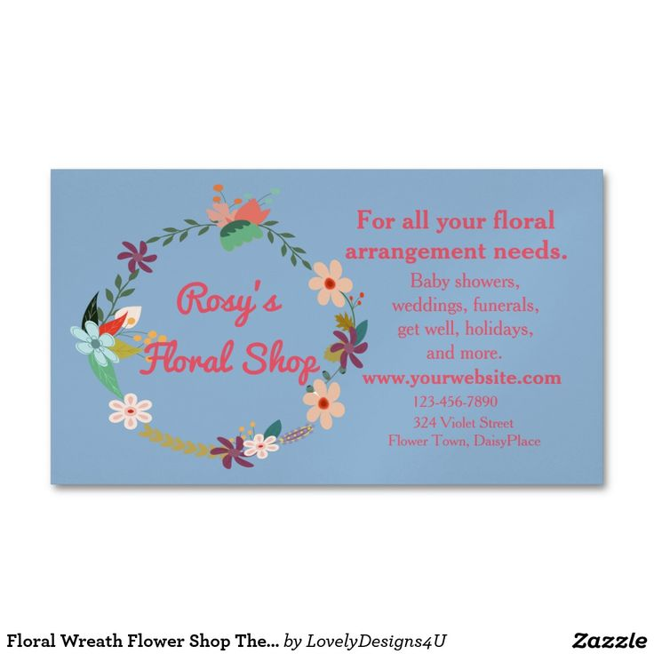 Floral Wreath Flower Shop Theme Business Card Magnet