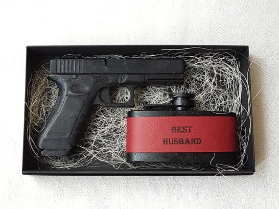 Gift Box Soap Gun Flask For Men Boyfriend Best Friend Birthday Husband Him Geek Homemade Gamer