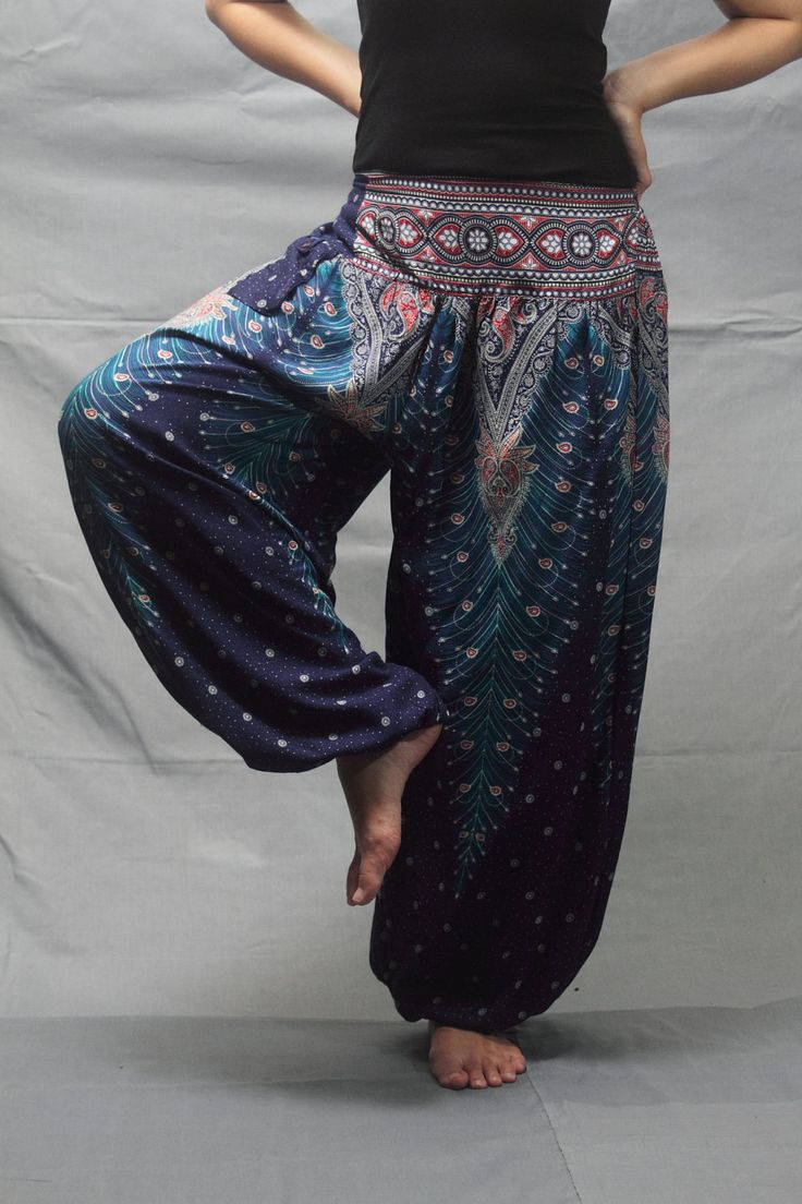 Peacock tail striped printed Rayon Yoga pants by smileclothing