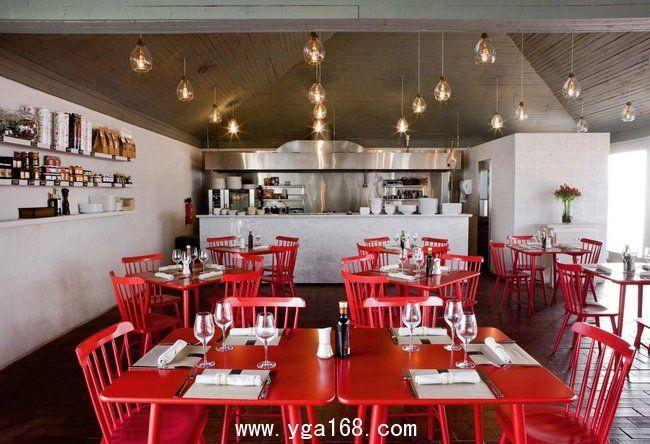 Red restaurant design in santiago chile simple