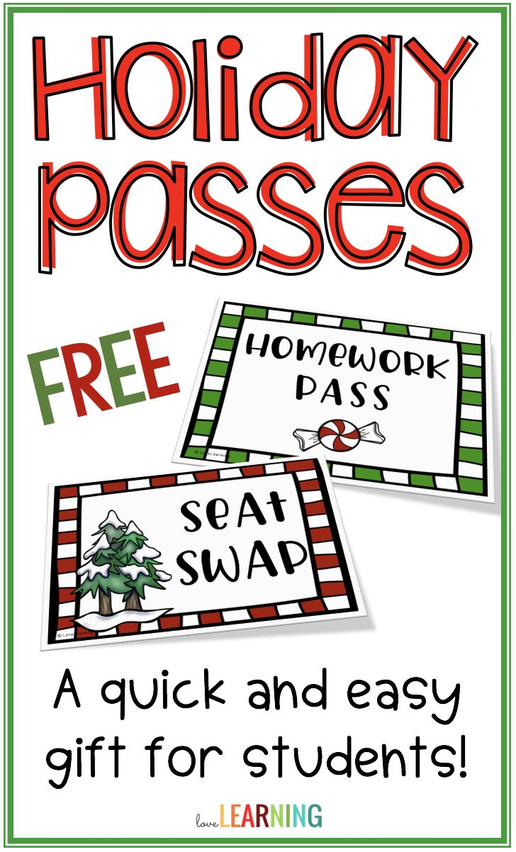 These free printable holiday passes are the easiest Christmas gifts, and students absolutely love them! Passes include a holiday homework pass, seat swap, job swap, and more!   Simply print, cut, and give to students! #studentgift #teachergifts