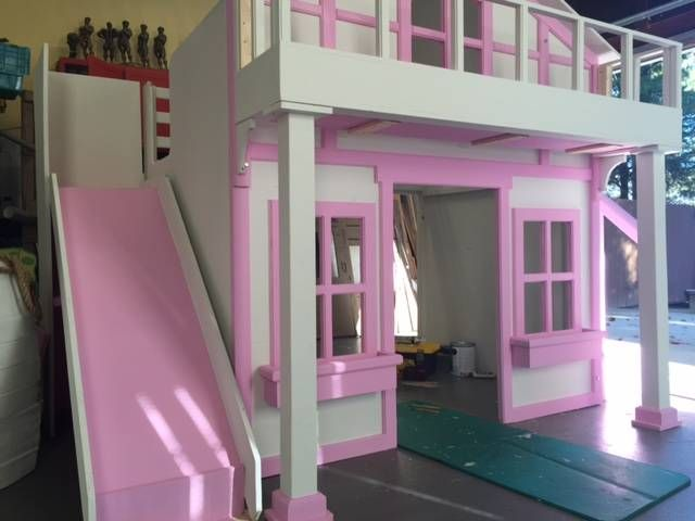This bed can be built as a loft style bed with a play house underneath or as shown being built to the right where it will be used as bunk beds. This particular bed is shown is made to fit a full...