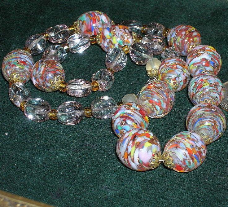 Vintage Venetian Murano Art Glass Confetti Rainbow Bead Aventurine Necklace