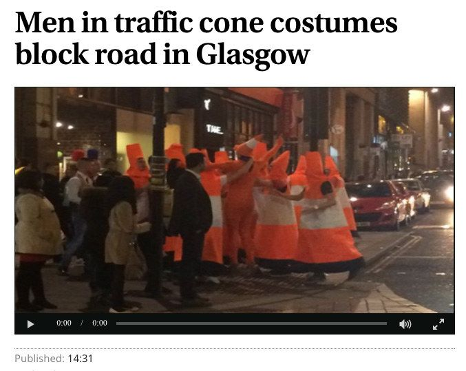 """Halloween in America: """"Obama hands out candy at the White House."""" Halloween in Scotland: """"Batman in fracas with a Minion and a giant red crayon."""""""