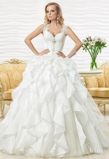 wedding dress ballgown with shoulder straps Dress: Karmina | Designer: Oksana Mukha Idilio Bridal