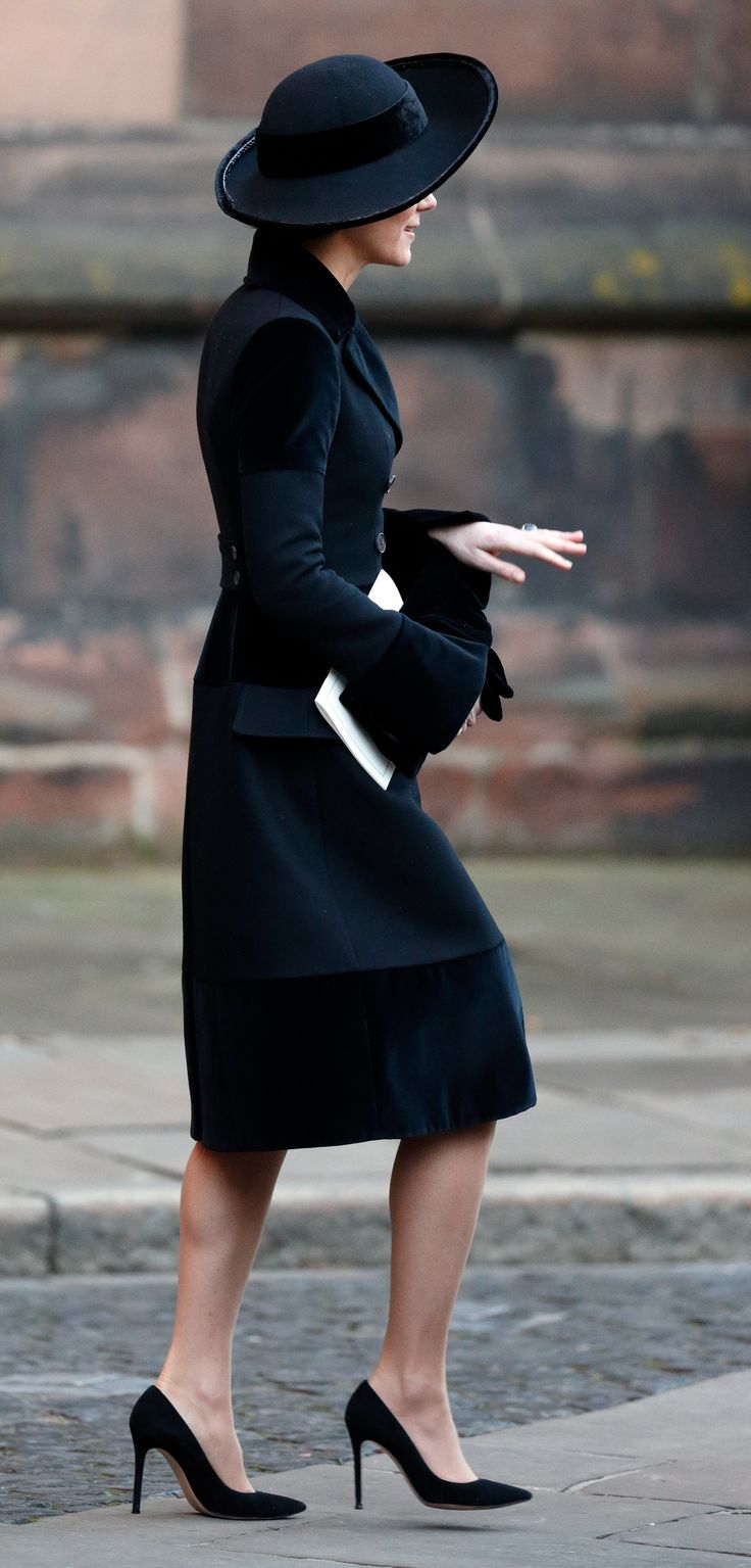 28 November 2016 - The British Royals attend the memorial service for the late Duke of Westminster in London - coat by Alexander McQueen, shoes by Gianvito Rossi, clutch by Pretty Ballerinas