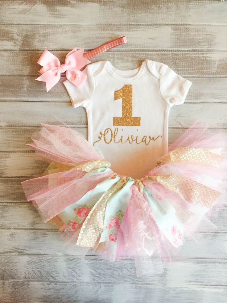 Floral Monogramed Two Tone Pink Baby Blue Gold Baby Girl 1st Birthday Outfit Pink and Gold Baby Girl 1st Birthday Tutu Set Smash Cake by RelicsofGrace on Etsy https://www.etsy.com/listing/235722132/floral-monogramed-two-tone-pink-baby