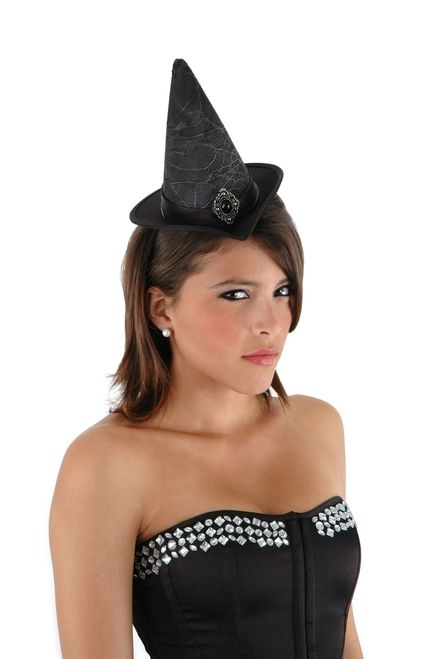 Black Mini Cocktail Witch Hat - The pattern, size and color of this witch's hat set it apart from other Halloween witch hats. The compact size allows for your Halloween costume to be a witch's cocktail dress. The black color will go with your dark dress and the dark deeds you may commit through dark magic. #halloween #yyc #costume #hat #witch