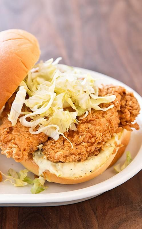 Cast-Iron Fried Chicken Sandwiches. For the perfect fried chicken sandwich that delivered on flavor, we used a salty spice rub, dipped the chicken in egg whites, and grabbed our cast iron skillet.