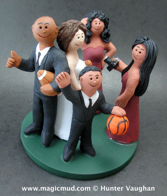 "Mixed Family Wedding Cake Topper, Wedding Cake Topper for a Blended Family,  Step Family Wedding Cake Topper, Family Wedding Caketopper    Take a look at these examples featuring ""step families""...  The Family can be in suits and gowns, casual clothes or whatever you want....why not incorporate an aspect of personalization to the kids? Does the stepson favour a soccer ball or gameboy, or perhaps a cellphone in teenage daughters hand?    $235 #magicmud 1 800 231 9814 www.magicmud.com"
