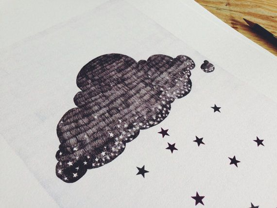This is an A3 Print (16.54 in by 11.69 in) of the stargazer cloud. Great for your own home or as a housewarming gift!