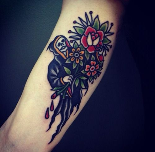 Grim reaper holding flowers traditional tattoo
