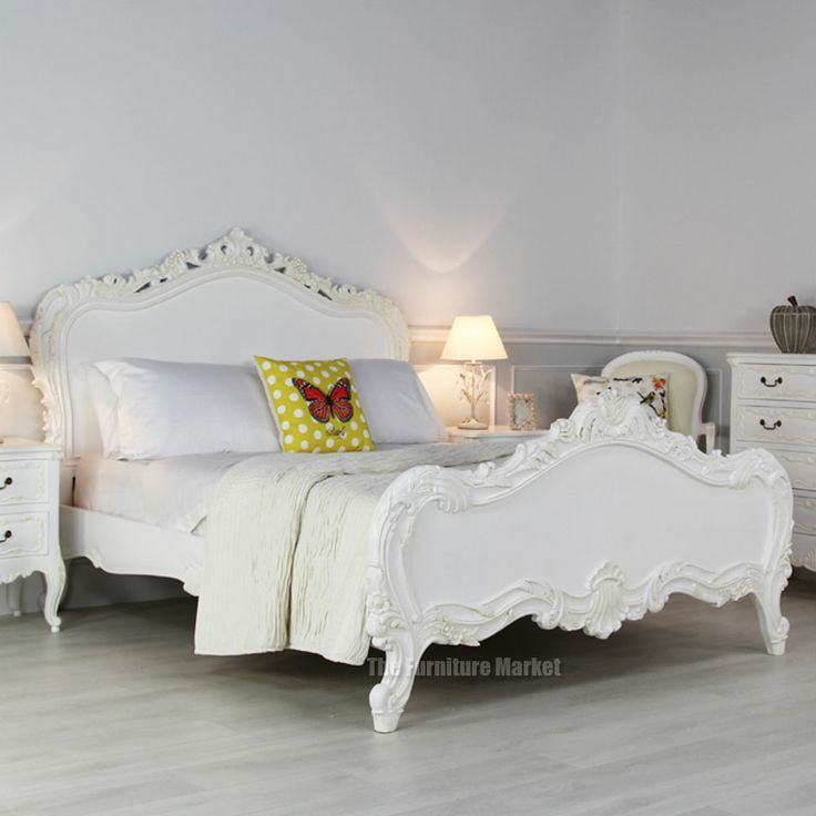 Awesome Chateau Beds #10: French Chateau White Painted Heavy Carved 5ft King Size Bed