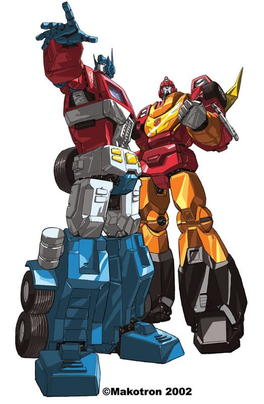 Optimus Prime and Hot Rod ( Rodimus Prime )