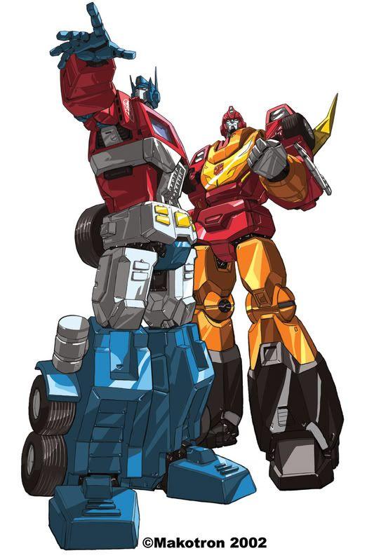 Optimus Prime and Hot Rod ( Rodimus Prime )