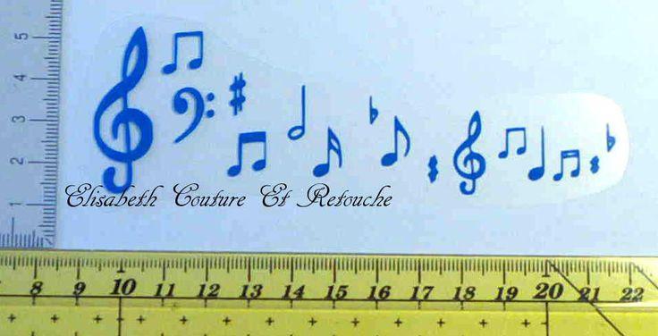 Motif en flex thermocollant : portée musicale bleue : Déco, Customisation Textile par elisabeth-couture-et-retouche
