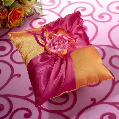 Hot Pink Orange Ring Bearer Pillow