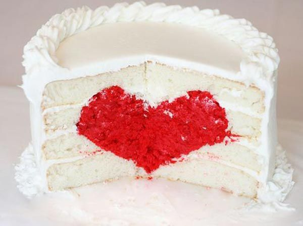What a nice Valentine's Day surprise this would be! Just a white cake, then, BAM! Heart in the Middle! Brilliant!: Cakes Tutorials, Valentines Cakes, Red Velvet, Valentines Day, Wedding Cakes, Valentinesday, Heartcak, White Cakes, Heart Cakes
