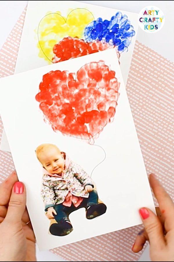 Druckbare Valentinstag Fingerabdruck Herz Karte