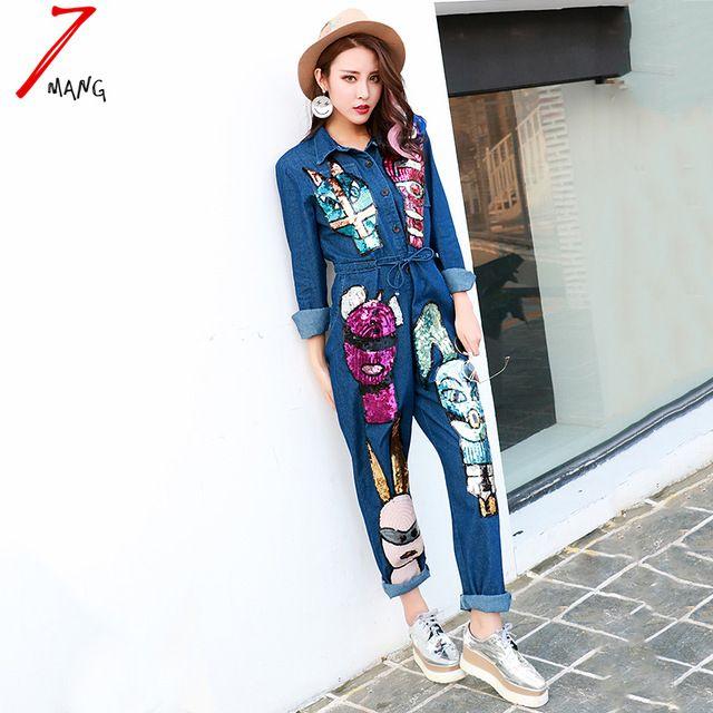 2016 donne di autunno di strada della novità del fumetto paillettes jeans tuta allentato manica lunga denim salopette corta