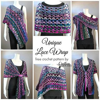 This crochet wrap was created to be worn a variety of ways, with a simple addition of an I-cord tie, you can wear this wrap in many different ways. The gorgeous colors throughout the wrap along with the lacy crochet pattern catch your eye differently depending on how it is worn.