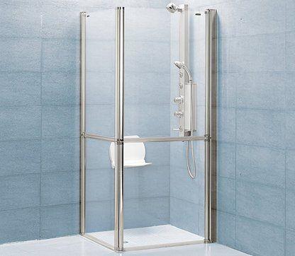 Mampara angulas de 2 puertas abatibles facil acceso para for Ducha facil