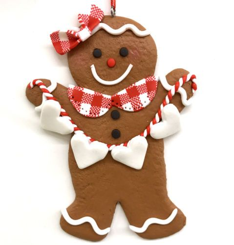 5-034-Gingerbread-Girl-Cookie-Ornament-Frosted-Fake-Food-Country-Cottage-Bakery