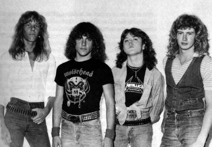 Early lin-up : James Hetfield, Ron McGovney, Lars Ulrich and Dave Mustaine.