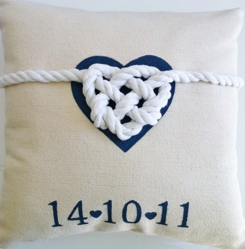 """""""tied the knot"""" cushion (ring bearer?)"""