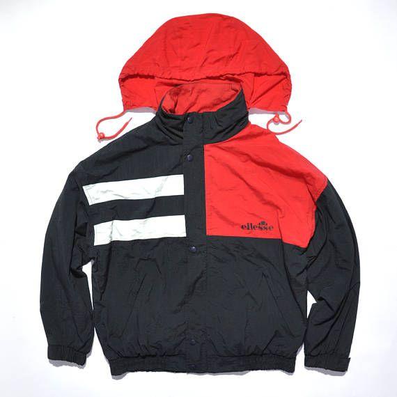 Vintage Ellesse Outdoor Jacket / Multicolor / colorblock / Hip Hop / 80s / 90s Fashion Outfits // Retro Streetwear // Windbreaker // Oldschool // men // women // unisex // Rare Clothing Clothes Items // style // etsy
