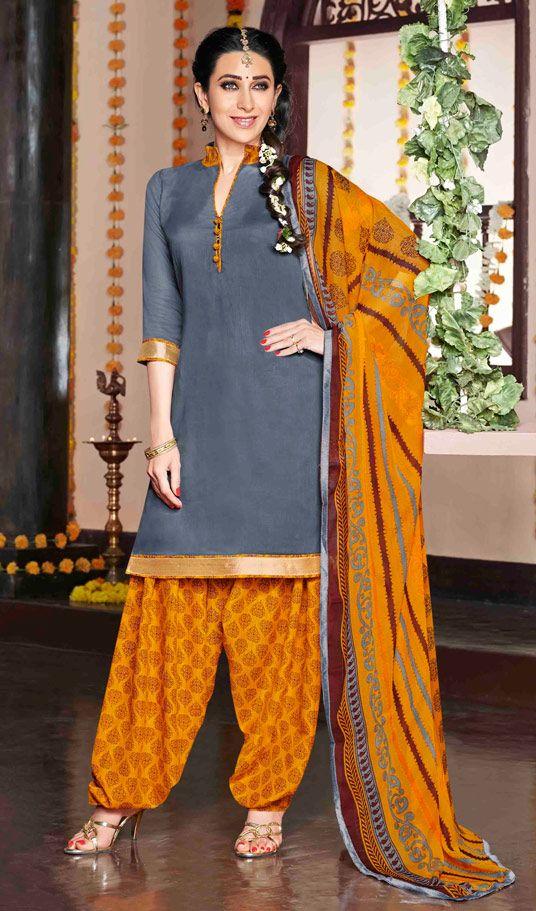 USD 30.25 Karisma Kapoor Gray Cotton Satin Punjabi Suit 47623