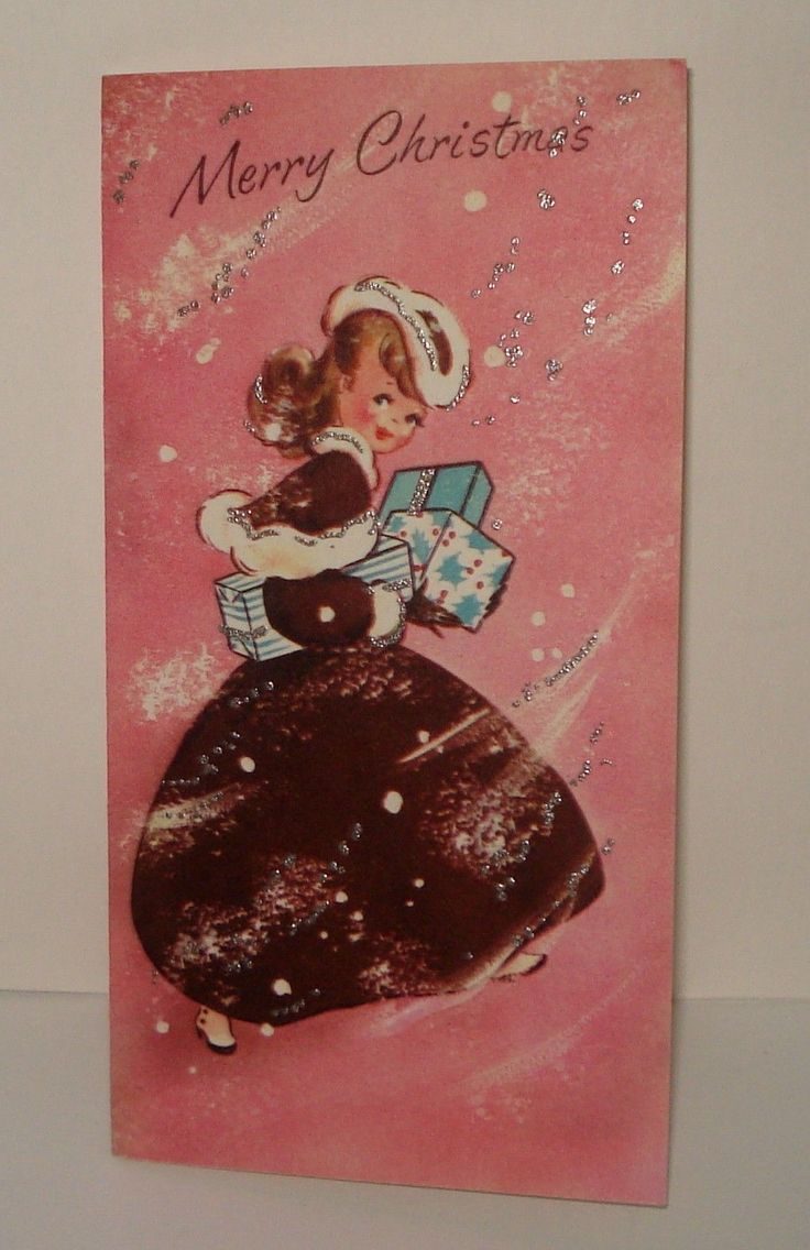 UNuseD PRETTY LADY/ GIRL FANCY DRESS FUR HAT GIFTS PINKS VINTAGE CHRISTMAS CARD FOR SALE • $17.95 • See Photos! SHIPPING IS ONLY $1.50 FOR AS MANY CARDS AS YOU BUY! What a beautifully dressed lady! Her dress is a dark burgundy accented with a fur trimmed cape, collar, and 132388385802