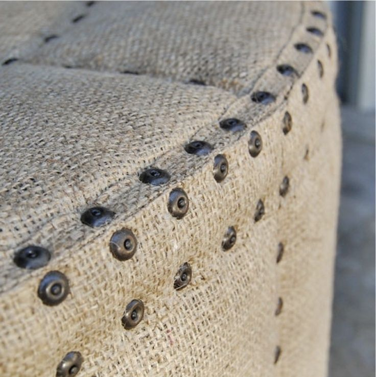 burlap furniture | Burlap upholstered ottman!! | furniture makeover ideas