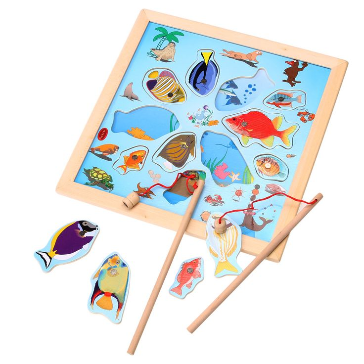 Baby Kids Magnetic Puzzle Fishing Game Board Wooden Jigsaw Puzzle Children Educational Toys Gift FCI#