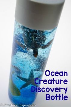 Make an ocean creature discovery and sensory bottle. The ocean creatures stay in place, and it is great for all ages.