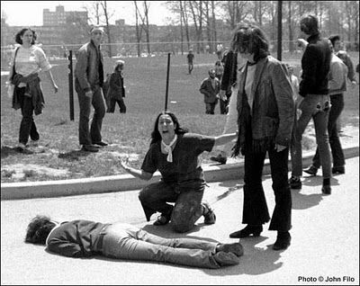 One of the most iconic photographs of the Vietnam War era, this Kent State photo was taken by an undergraduate named John Filo. A completely distraught, helpless-looking Mary Vecchio weeps over the dead body of a classmate, who had been shot by National Guardsmen during a protest on campus. Her emotion captures the anger and violent confusion of the era, and the photo won Filo a Pulitzer.